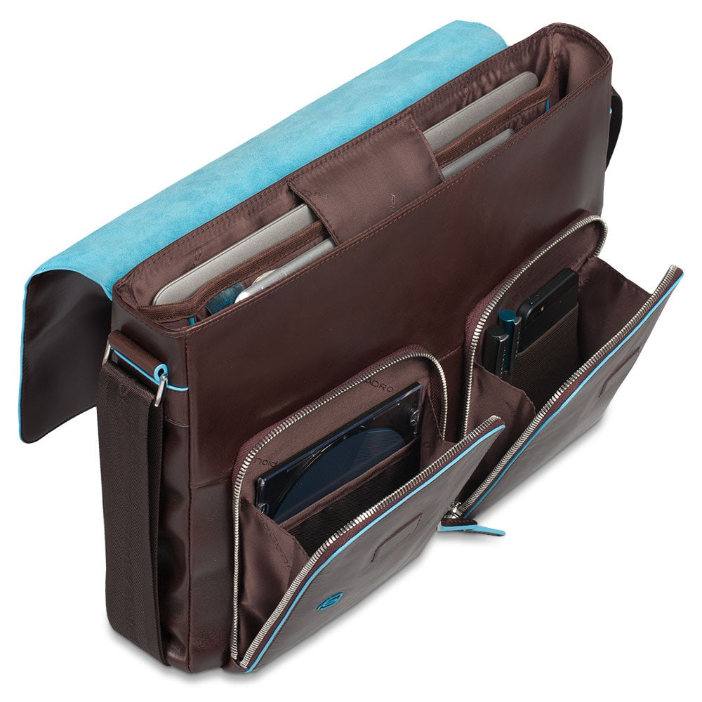 a52f44b1345a Flap-over computer messenger bag with iPad® iPad®Air compartment Blue  Square. Previous Next