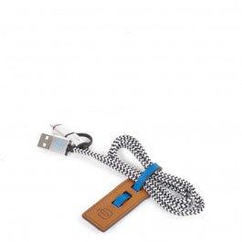 Organizador de cables en piel con cable USB