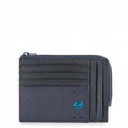 Zipper coin pouch with document holder and credit