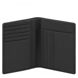 Vertical men's wallet with banknote, credit card a