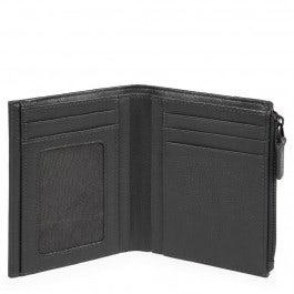 Vertical men's wallet with side coin pocket