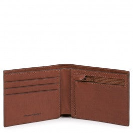 Slim men's wallet with zipped coin pocket