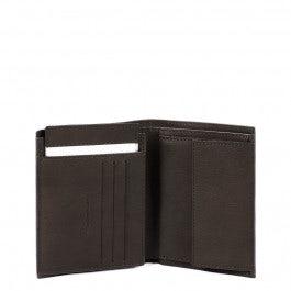 Vertical men's wallet with flip up ID window, coin