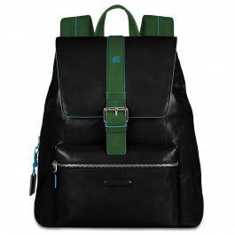 Flap over computer backpack with padded iPad compartment. Handmade in Italy.