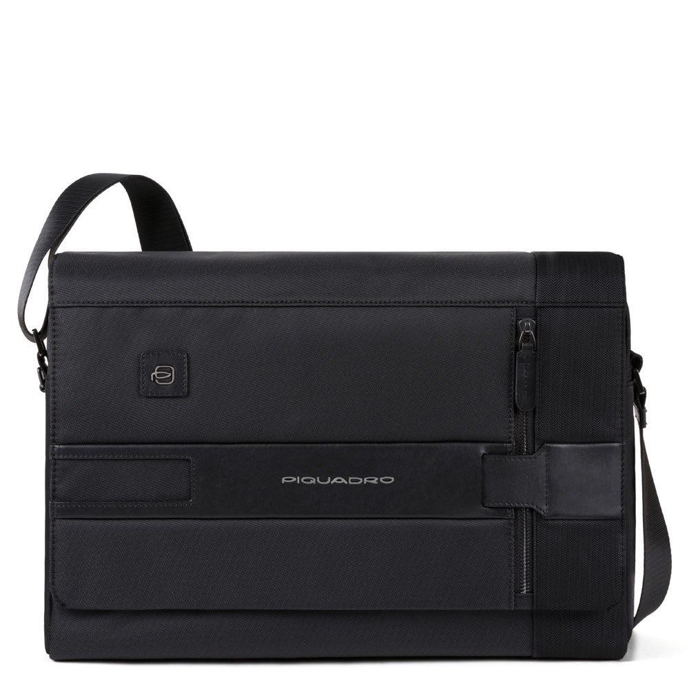 Nero 28 cm Black Piquadro Line Messenger Bag
